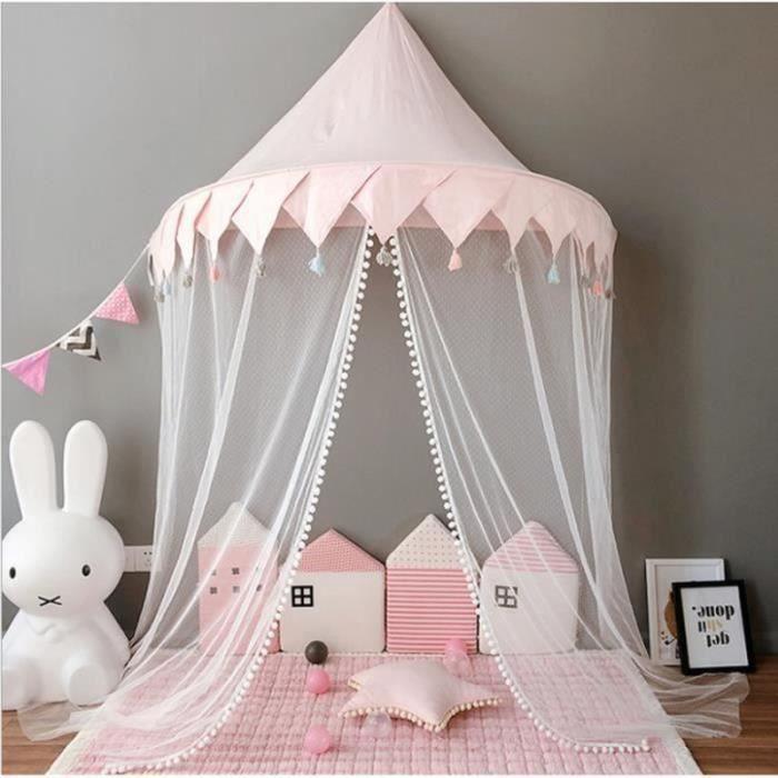ZS18491-Baldaquin Ciel de Lit avec Moustiquaire Coton,Rideaux De Lit Fille Princesse Tente de Jeu Décoration Chambre enfant