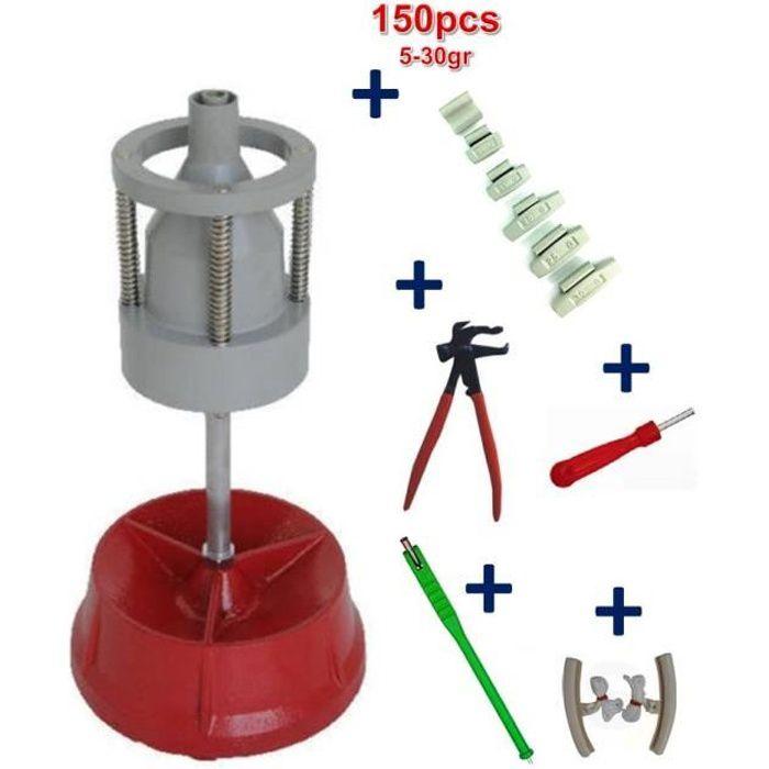 Equilibreuse de Pneu Manuelle Portable avec Centreur + 150 Plombs a Frapper 5-30gr+ Tire Valve + démonte Obus + Pince + Paire Protèg