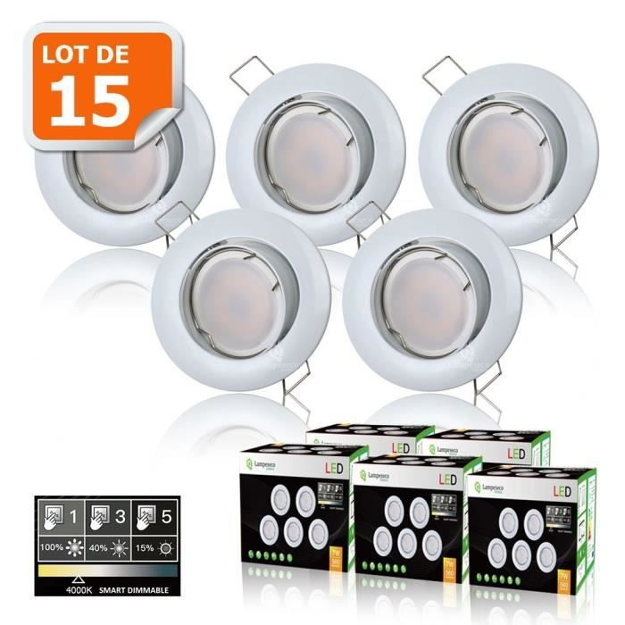 15 SPOTS LED DIMMABLE SANS VARIATEUR 7W eq.56w NEUTRE ORIENTABLE FINITION BLANC