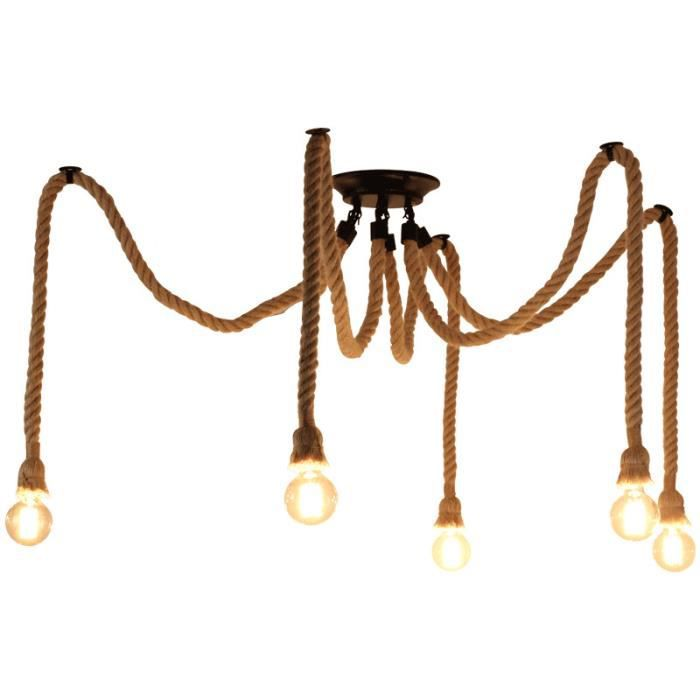 EXBON 5 Tête Lustre Suspension Araignee Industrielle Lampe Plafond Corde de Chanvre Luminaire pour Restaurant Hôtel