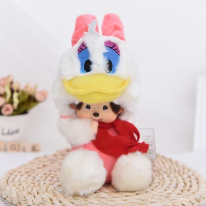 Poupée Donald Duck Monchichi Doll Peluche 20cm Gris avec biberon