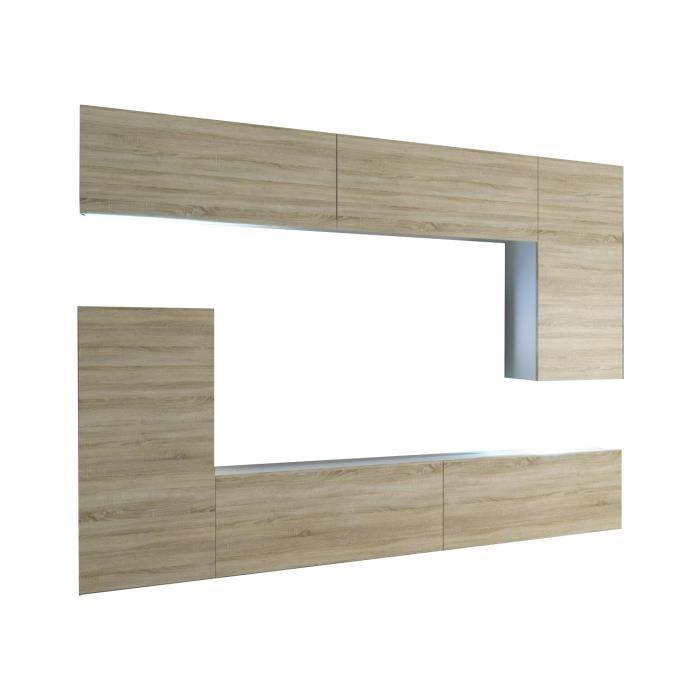 SLIDE - Ensemble meubles TV + LED - Unité murale moderne - Largeur 250 cm - Mur TV à suspendre - Aspect bois - Sonoma-Blanc