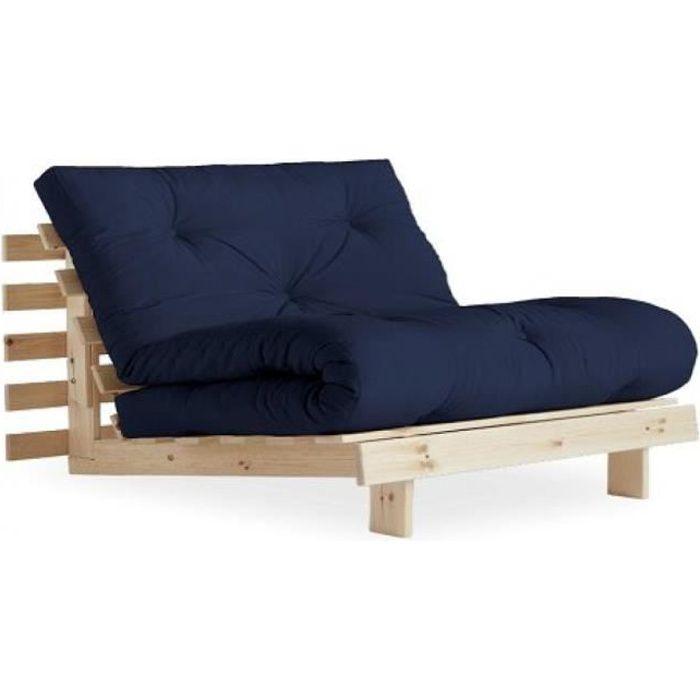 Fauteuil convertible futon RACINES pin naturel coloris bleu marine couchage 90 x 200 cm. bleu tissu Inside75