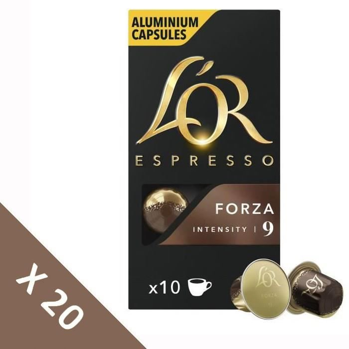 [Lot de 20] Café Capsules L'Or Espresso Forza - intensité 9 - compatible Nespresso®* - 10 capsules - 52g