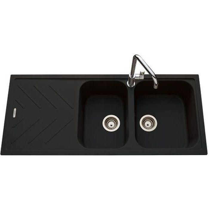 Évier granit noir Luisina ARPEGE 2 bacs 1 égouttoir Noir