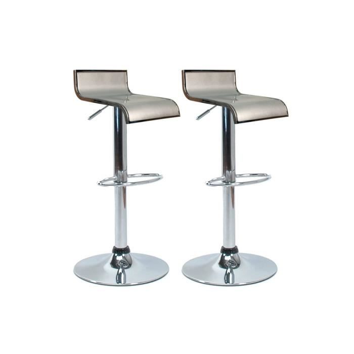 Tabourets de bar / cuisine argent WAVES (lot de 2)