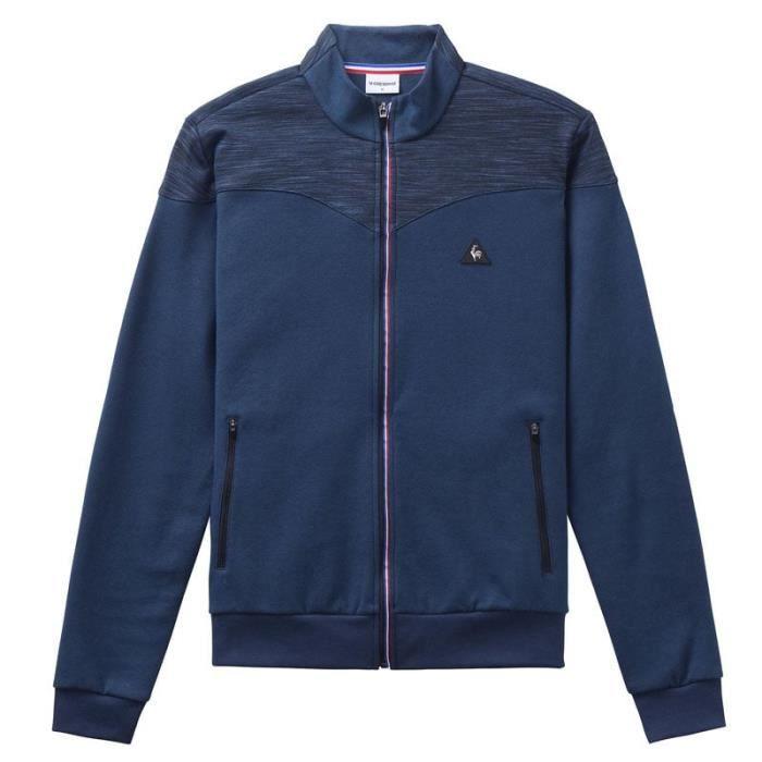 Sweatshirt Le Coq Sportif zippé bleu.