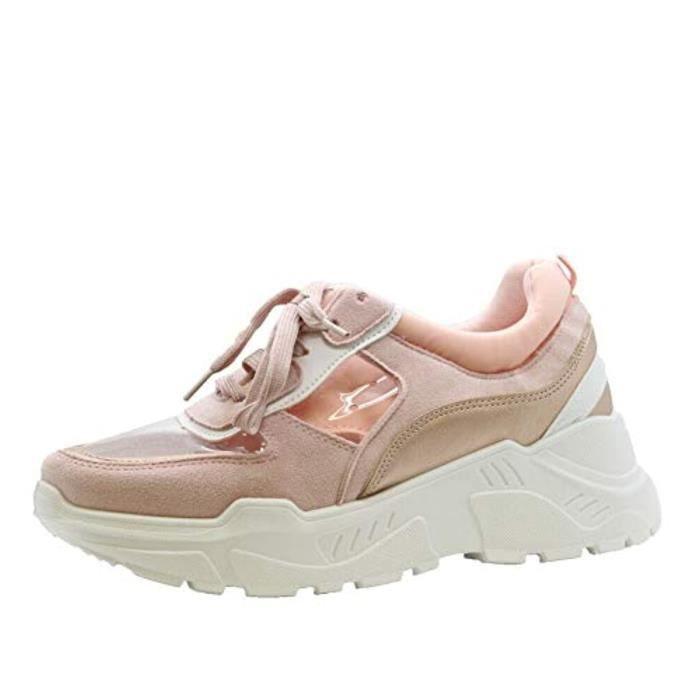 Sandale De Randonnee GHO2V Mesdames Plateforme Formateurs Chunky Plexiglas Lace Up Sneaker Chaussures de course Taille 3-8 Taille-39
