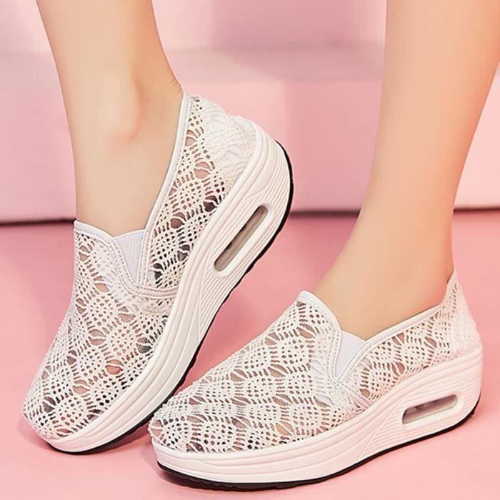 Chaussures à bascule à semelle épaisse respirantes en maille pour femmes, chaussures de course à coussin d'air