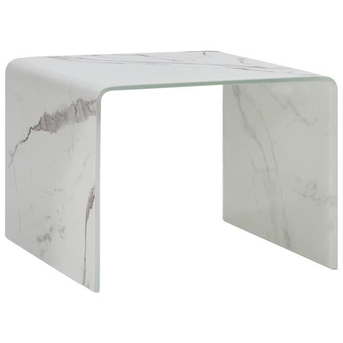 Table basse design scandinave salon contemporain Blanc Marbre 50 x 50 x 45 cm Verre trempé