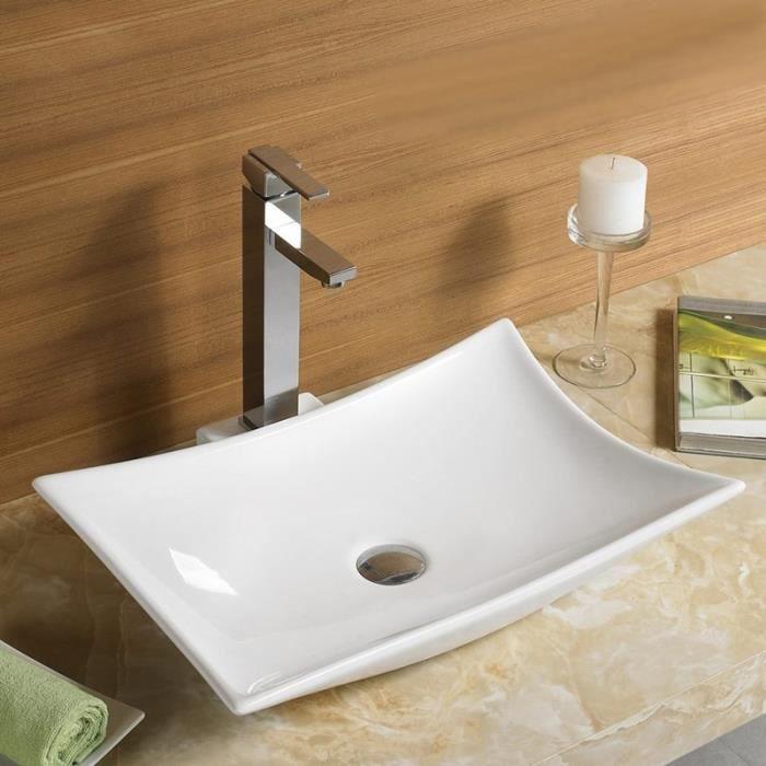 Vasque à Poser avec plage de robinetterie - Céramique - 56x38 cm - Wing