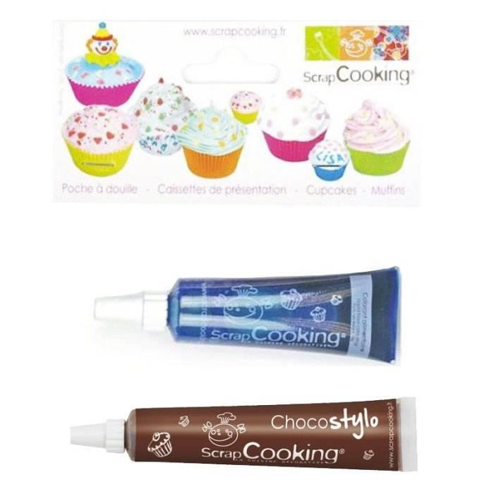 Stylo chocolat + Colorant alimentaire liquide tube Bleu