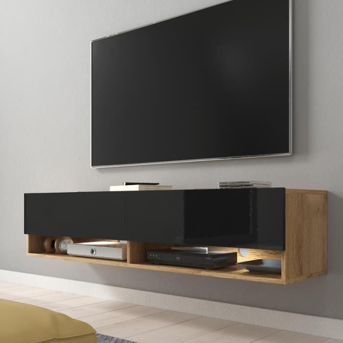 Meuble TV / Meuble de salon - WANDER - 140 cm - avec LED - chêne wotan / noir brillant - design moderne