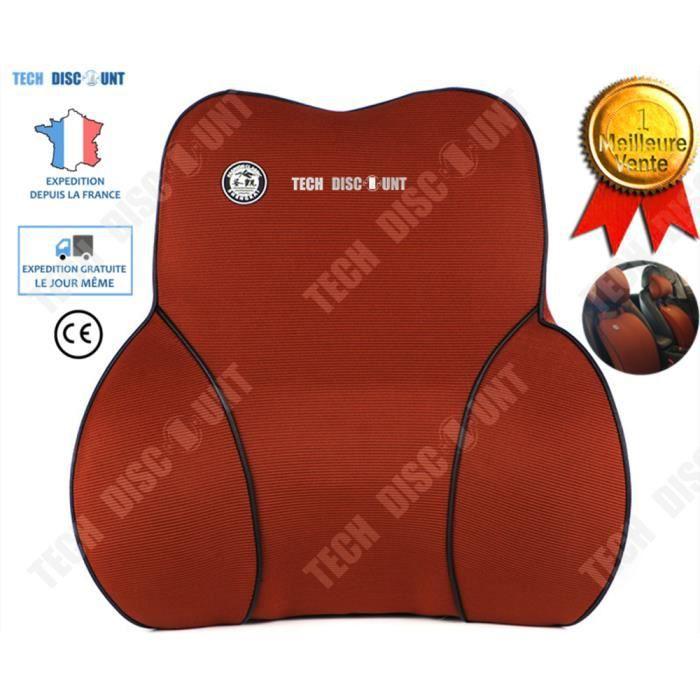 TD® Coussin lombaire voiture conducteur ferme massant coton oreiller de soutien du dos ergonomique bureau chaise soulager douleur