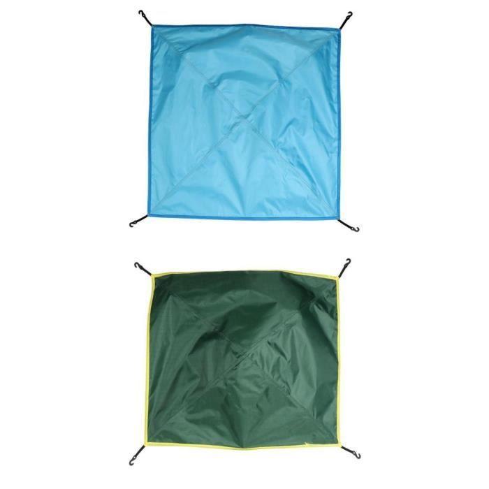 2pcs Bâche Tente Anti Pluie UV Imperméable Tapis Étanche Coupe-Vent Anti-neige Camping Abri - Armée Vert + Bleu