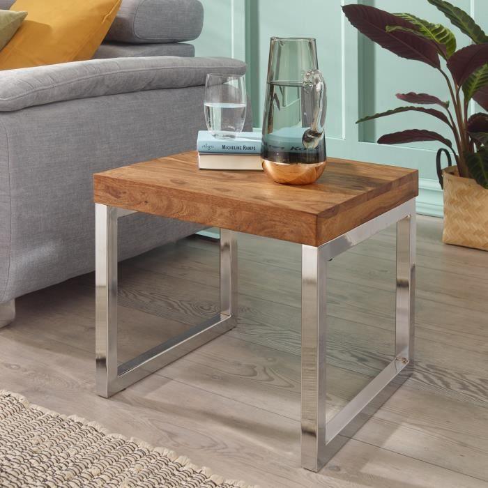 WOHNLING Side-Bois Massif Sheesham table de salon cadre métallique style campagnard table basse brun foncé naturel