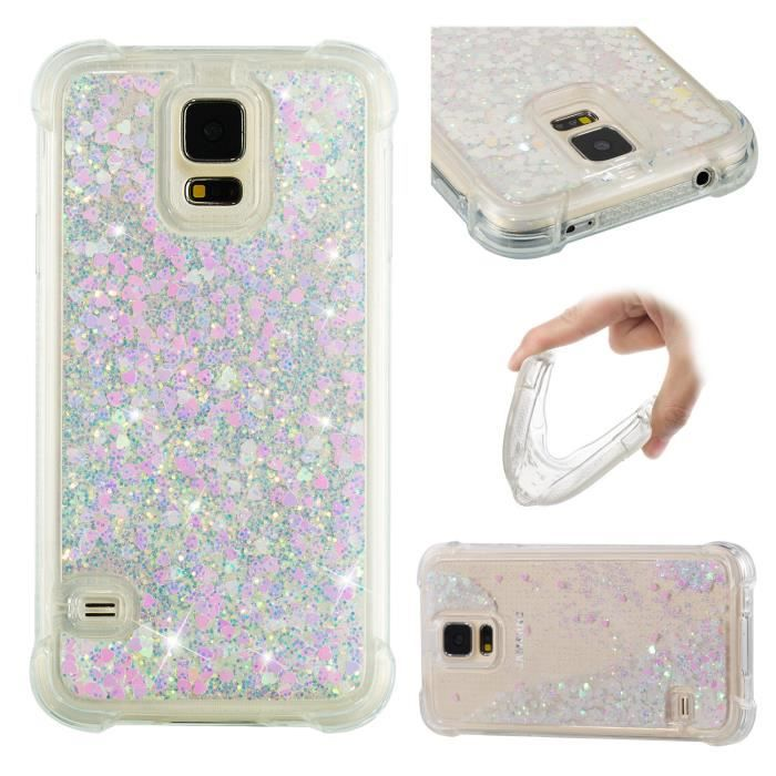 Coque Samsung Galaxy S5 i9600 , Gel Silicone TPU Luxe liquide paillette Pink style case
