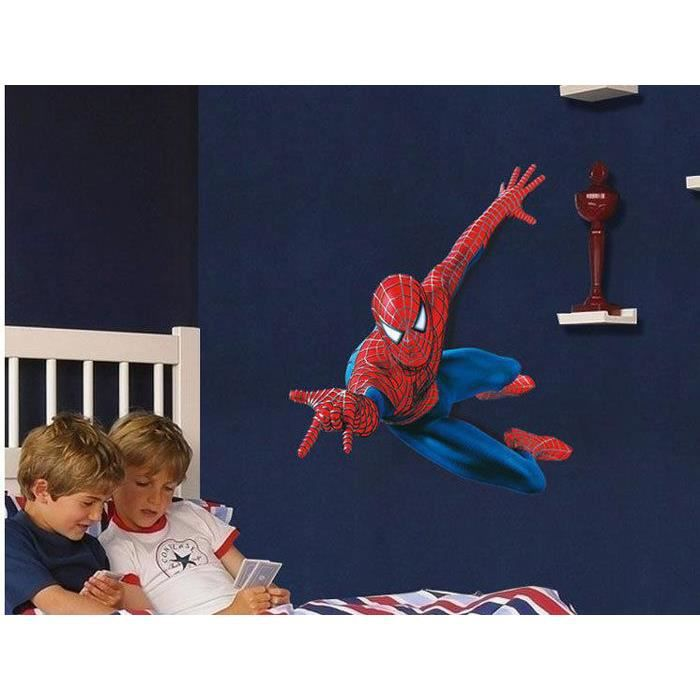 maxi geant sticker mural spiderman 3d 90x110 cm achat vente stickers cdiscount. Black Bedroom Furniture Sets. Home Design Ideas