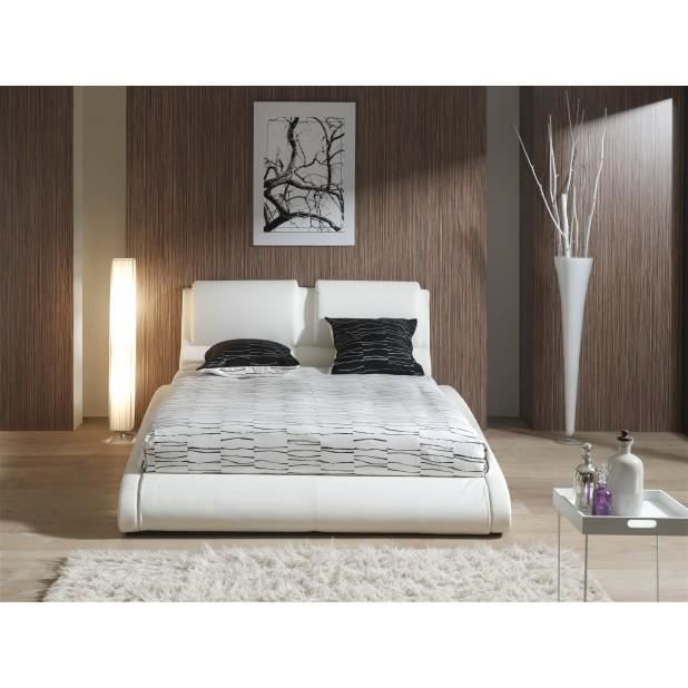 structure de lit blanc 160 achat vente structure de. Black Bedroom Furniture Sets. Home Design Ideas