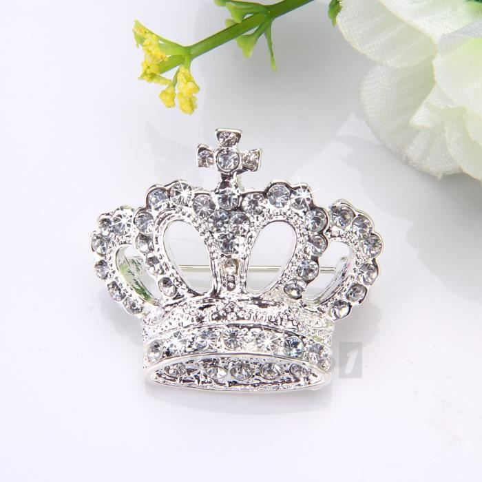 broche plaqu d 39 argent strass en couronne d c achat vente broche broche pour femme. Black Bedroom Furniture Sets. Home Design Ideas