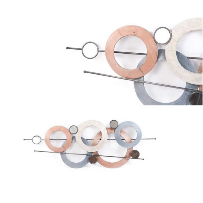 D coration murale m tal 115x43x5 cercles achat vente for Decoration murale objet