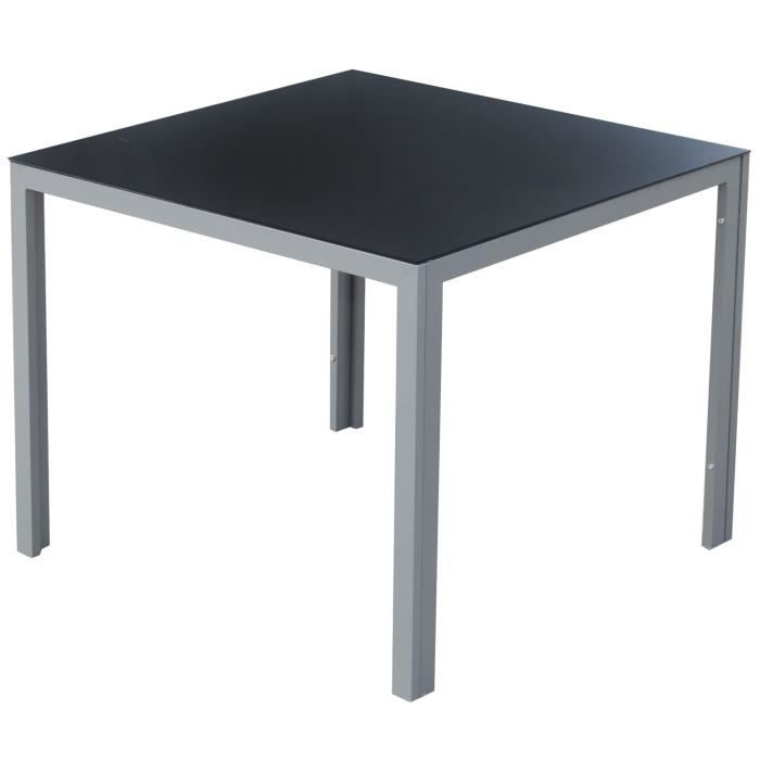 Table de jardin carr en alu verre tremp salon te achat - Table salon verre trempe ...