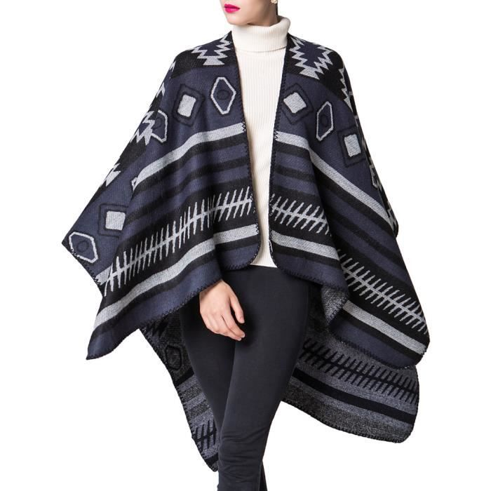 mochoose poncho et cape tricot ch le plaid charpe couverture wrap tartan chaude hiver pour. Black Bedroom Furniture Sets. Home Design Ideas