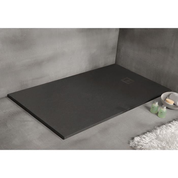 receveur de douche 140 x 90 cm extra plat  strato noir