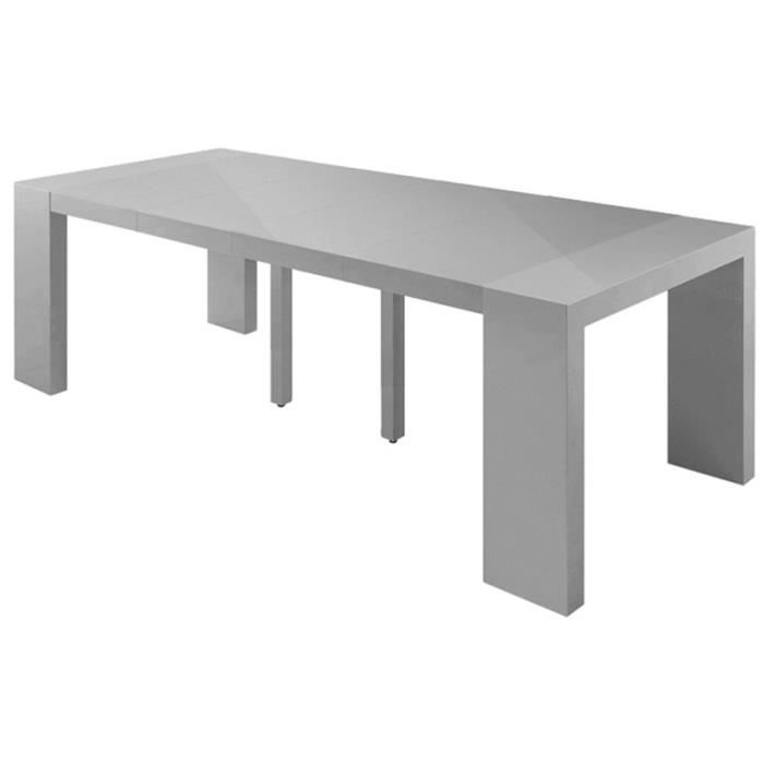 Table de repas extensible laqu kend grise achat vente for Table console extensible grise