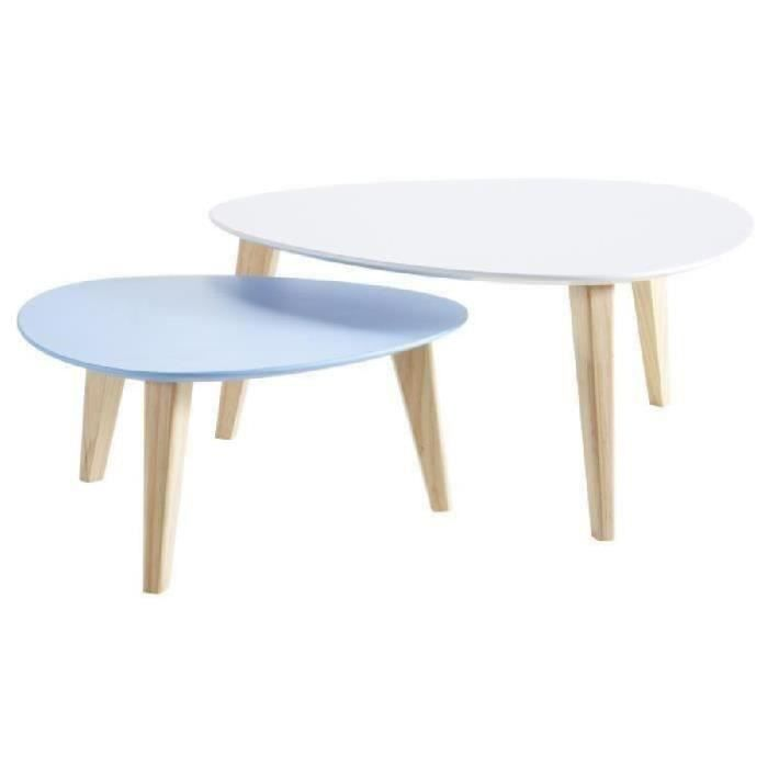 Lot de 2 tables basses stone blanc bleu achat vente for 2 table basse scandinave