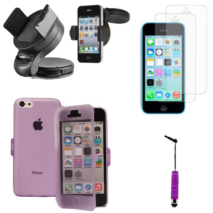 pour apple iphone 5c lot 5 accessoires coque gel rabat souple films support voiture achat. Black Bedroom Furniture Sets. Home Design Ideas