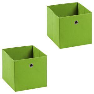 BOITE DE RANGEMENT Lot de 2 tiroirs en tissu vert ELA boîte de rangem