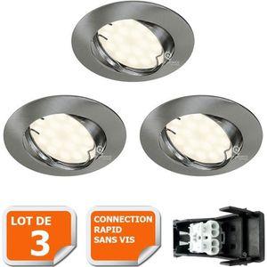 SPOTS - LIGNE DE SPOTS LOT DE 3 SPOT LED ENCASTRABLE ORIENTABLE ALU BROSS