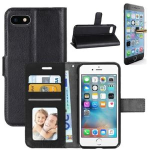 COQUE - BUMPER Coque iPhone 6/6S Rabat Portefeuille Noir + Verre
