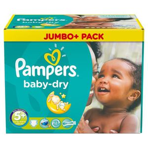 COUCHE 136 Couches Pampers Baby Dry taille 5+