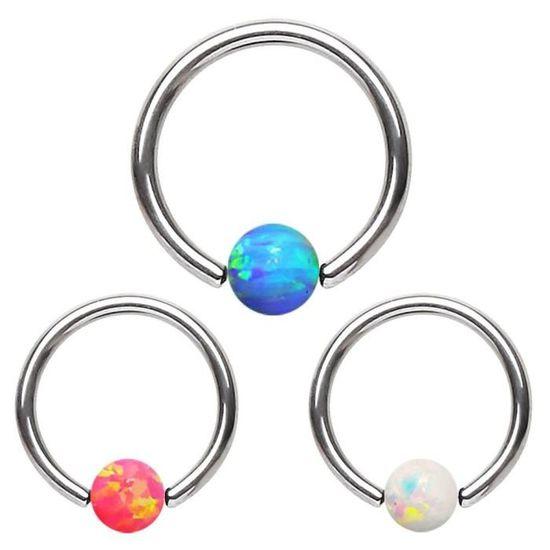 Piercing anneau captif pierre opale
