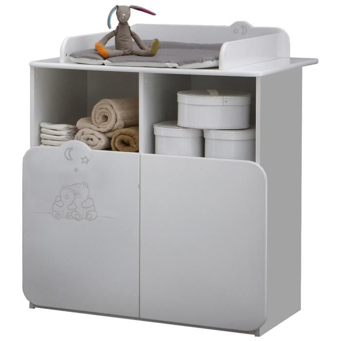 TEDDY Commode Table A Langer 70 x 55 Cm 2 Portes / 2 Niches
