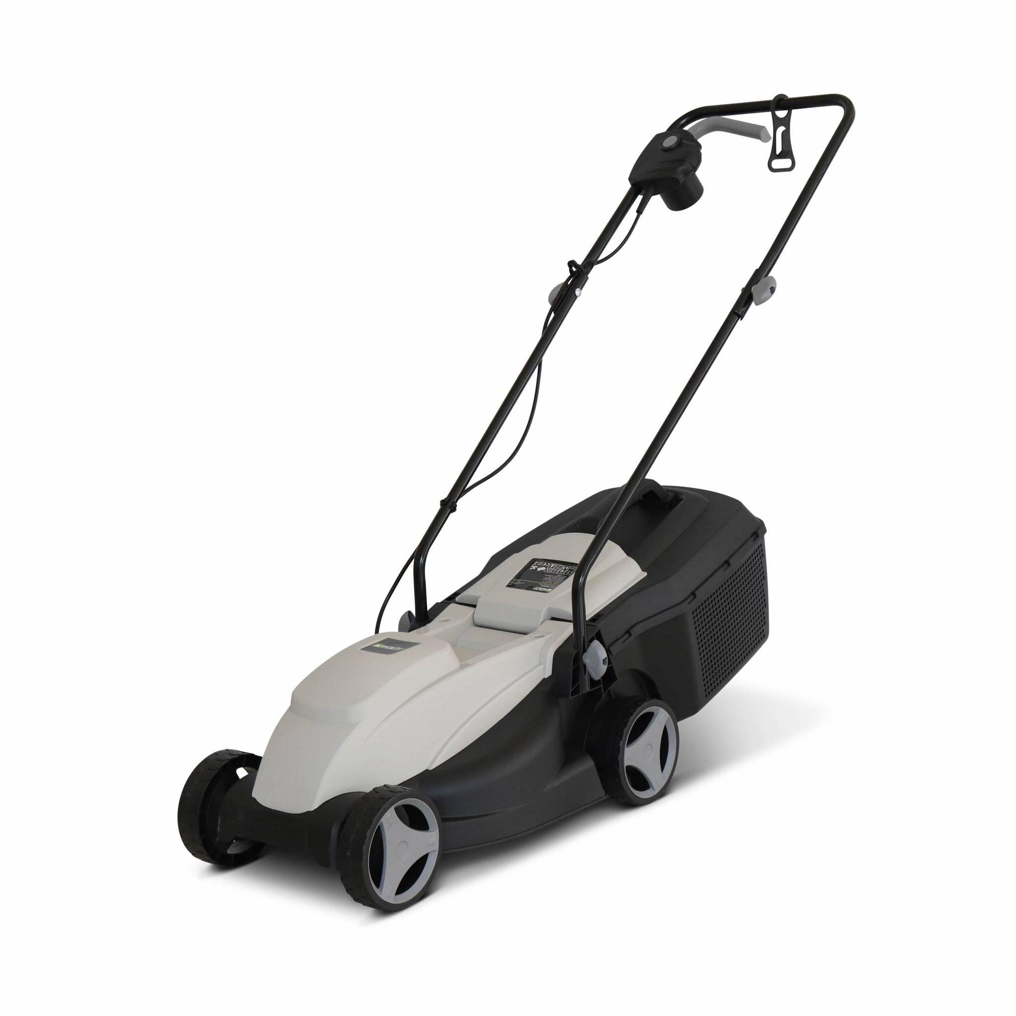 VOLTR – Tondeuse à gazon électrique 1300W – récupérateur d'herbe 25L, diamètre de coupe 32cm, compacte et maniable