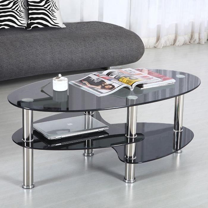 Table d'appoint - Table basse ovale-Table basse design- Métal et verre -Noir 90*50*43cm