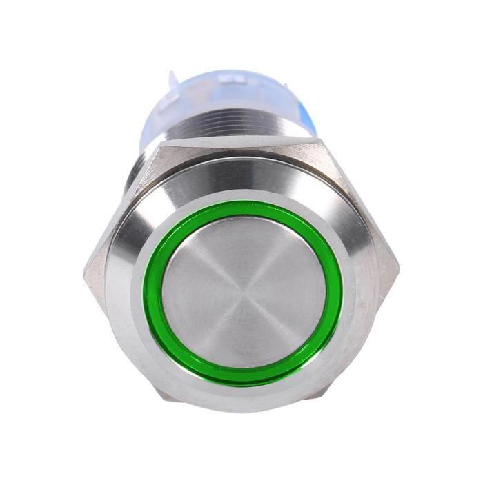 AIZHIYUAN 19mm 12V Interrupteur à bouton-poussoir à verrouillage à verrouillage automatique en acier inoxydable étanche LED verte