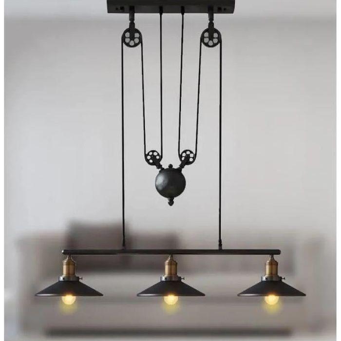 MOGOD Lustre Suspension Poulie 3 Tête Lampe de Plafonde en Métal