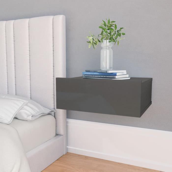 Table de chevet flottante- Gris brillant -40x30x15 cm- Aggloméré -Dotée d'un design élégant et classique