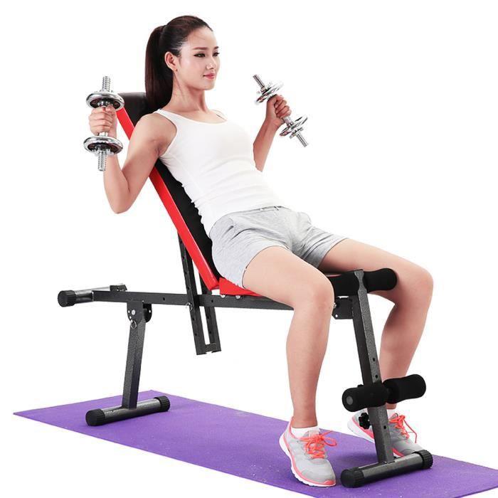 WISS Banc de Musculation Pliable- Banc haltérophilie - Banc abdominaux Pliable - Banc muscu - Banc Musculation inclinable