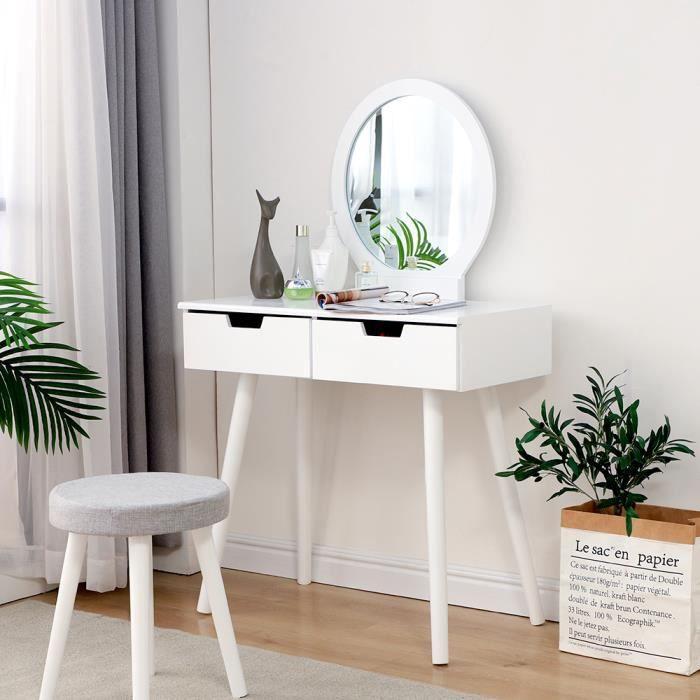 Coiffeuse Table de Maquillage Blanche avec Tabouret, 2 Tiroirs et Miroir rond Maison de Campagne 80 x 40 x 128 cm