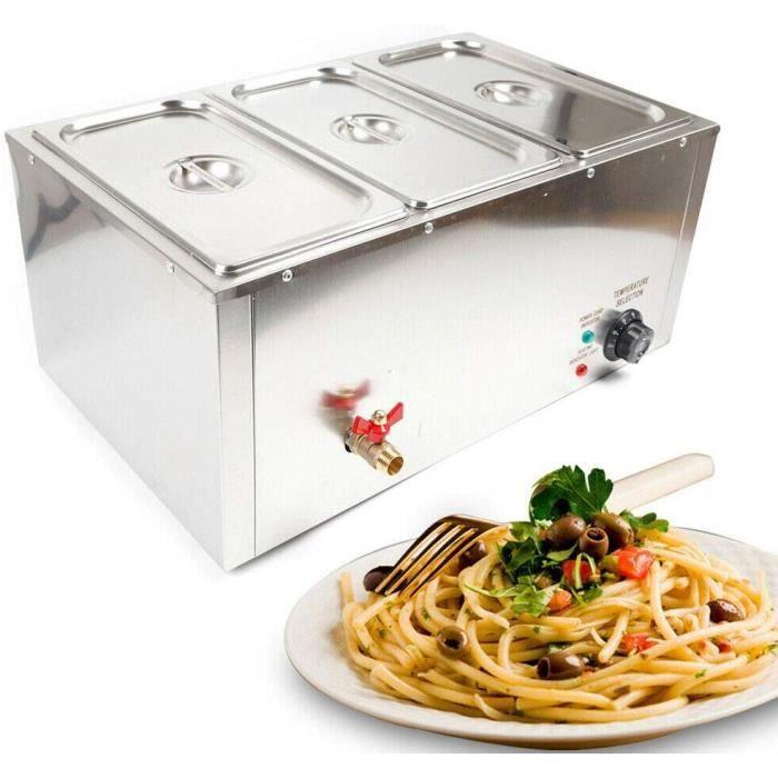 Chauffe-Plats Électrique Chafing Dish en Acier Inoxydable 7 litres 3 Bols Buffets Chauffant Réchauffage d'Aliment Food Warmer 850W