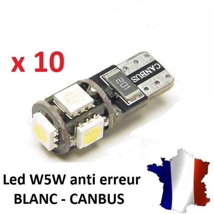 10 Veilleuses LED W5W T10 Canbus ANTI ERREUR ODB 6500k XENON 5 SMD voiture moto