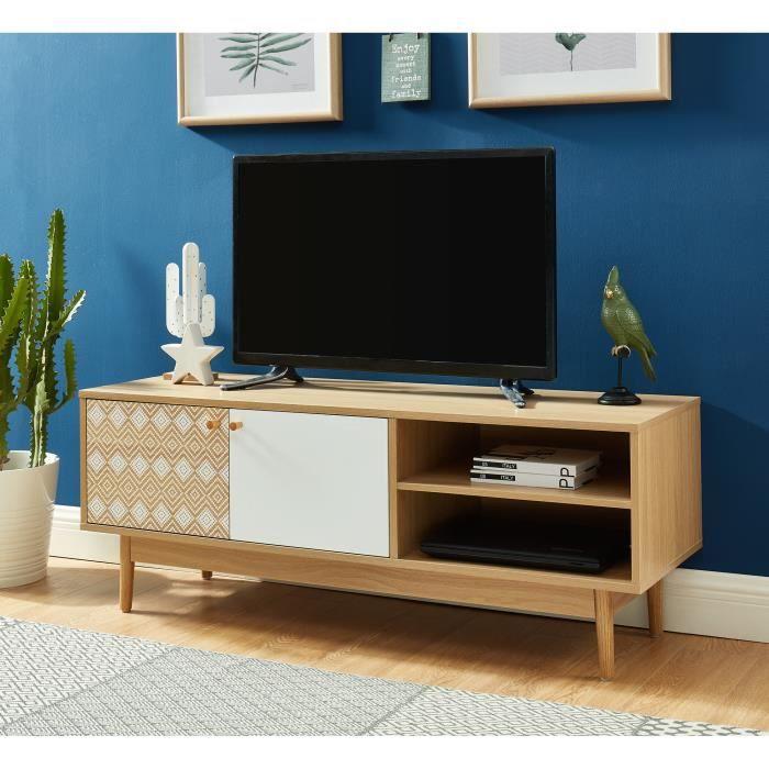 LEIKA Meuble TV 120cm blanc et chêne - style scandinave - pieds en bois massif d'eucalyptus