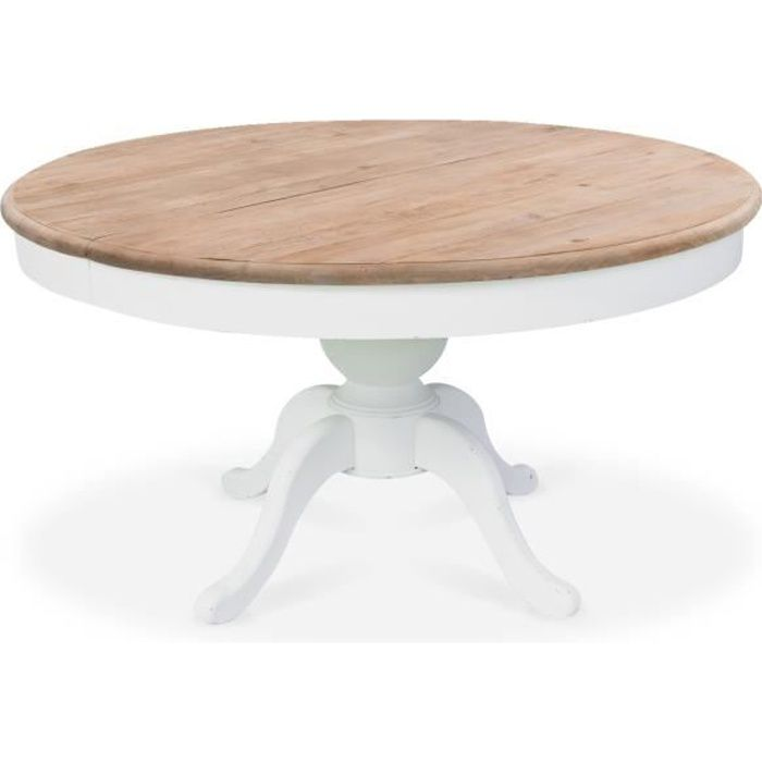 Table ronde extensible en bois massif SIDONIE blanc