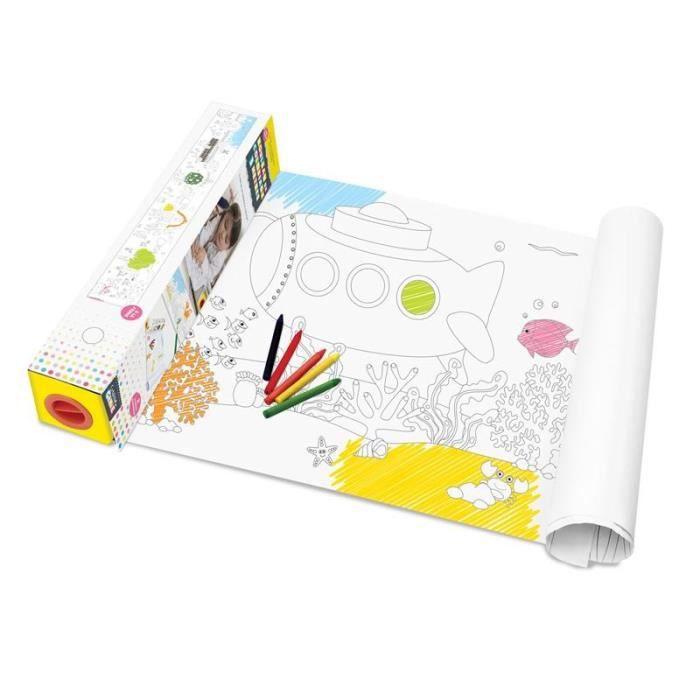 Rouleau à coloriage avec dévidoir 3 mètres activités manuelles Blanc