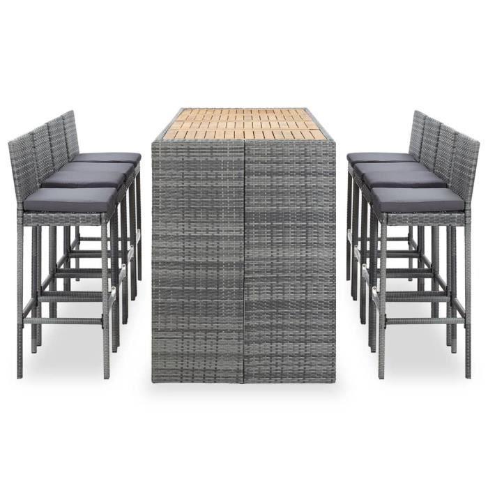 Ensemble Table de bar + 8 tabourets bar - Ensemble de bar Mange-Debout Résine tressée et bois d'acacia Gris